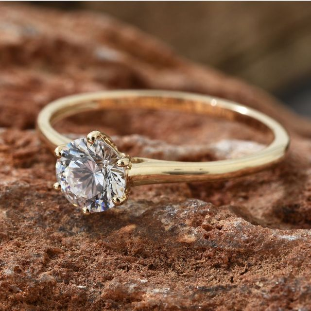 J Francis - 9K Yellow Gold Solitaire Ring
