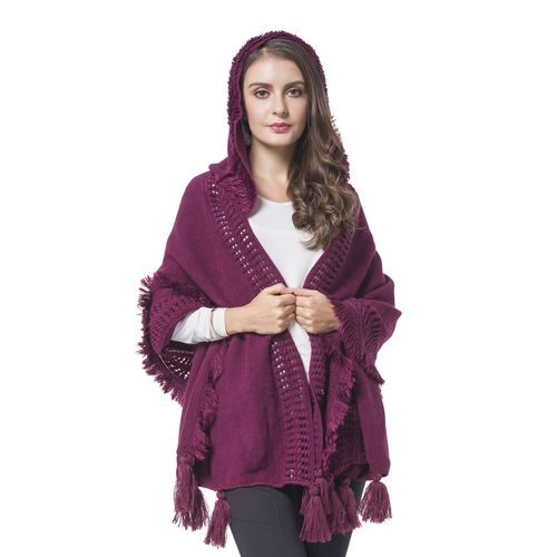 Knitted Hoodie Kimono with Tassels