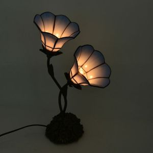 Tiffany Style Table Lamp with 2 Sky Blue Petunias Stained Glass Shades