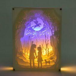 Fairy Tale Lighting with Paper Cut 3D Two Children Motif