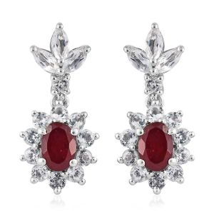 African Ruby, White Topaz Earrings