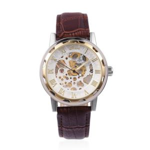 Water Resistant Watch in Silver Tone with Reddish Brown Strap