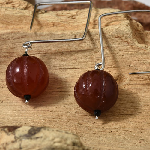 Limited Edition- Halloween Special Pumpkin Carved Natural Agate and Boi Ploi Black Spinel Earrings