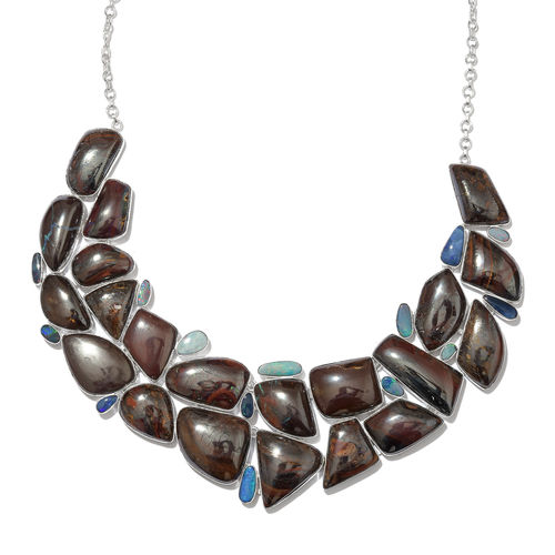 Boulder Opal Rock and Opal Double Necklace