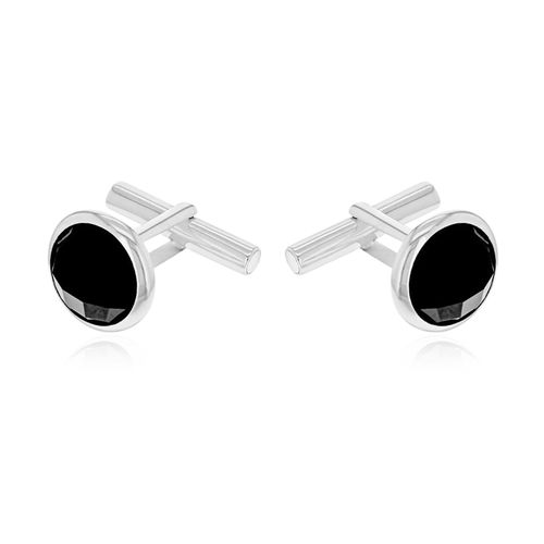 Natural Black Onyx Toggle Close Cufflink in Sterling Silver