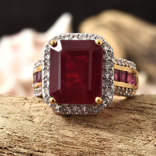 African Ruby (Oct 8.00 Ct), Natural White Cambodian Zircon Ring
