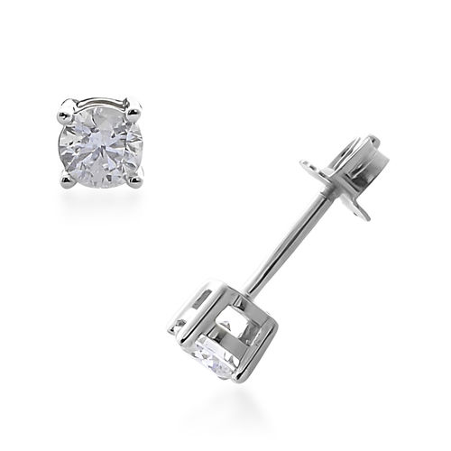 0.25 Carat Diamond Solitaire Stud Earring in 9K White Gold With Push Back SGL Certified I3 GH