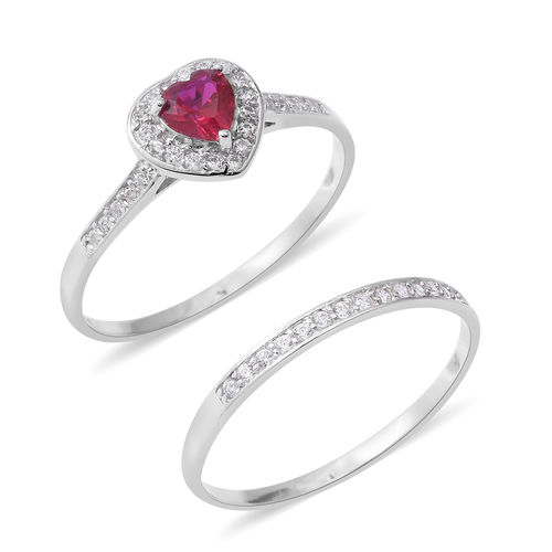Set of 2 ELANZA Simulated Ruby (Hrt), Simulated Diamond Heart Ring in Rhodium Overlay Sterling Silver