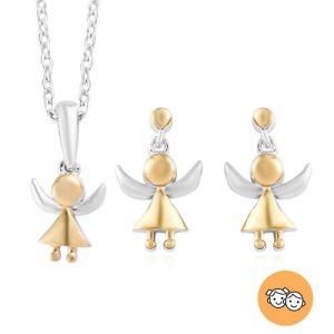 2 Piece Set Kids Angel Pendant with Chain and Earrings