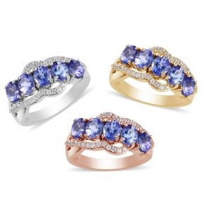 Personalise Engravable Tanzanite and Zircon Ring