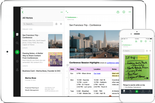 Product screenshot of Evernote