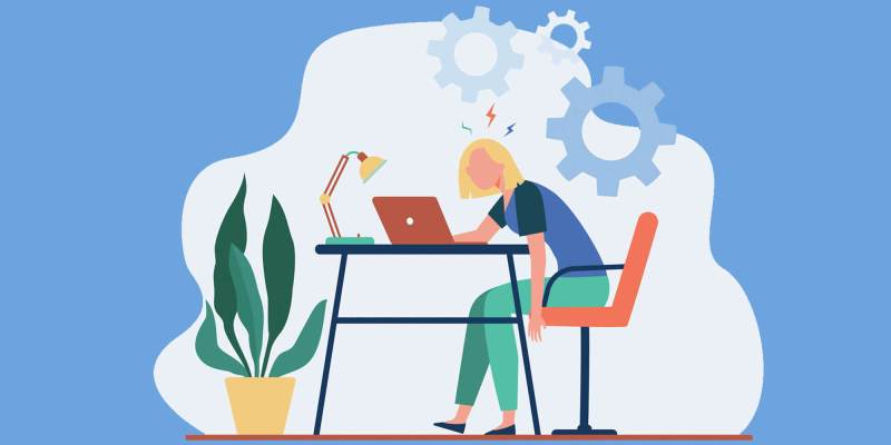 Featured illustration depicting a woman tired of working remotely