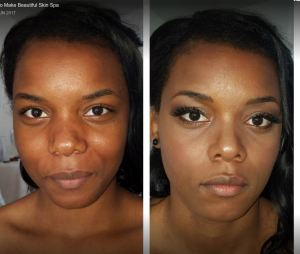 Before and After makeup for dark skin