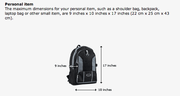Is A Backpack A Personal Item
