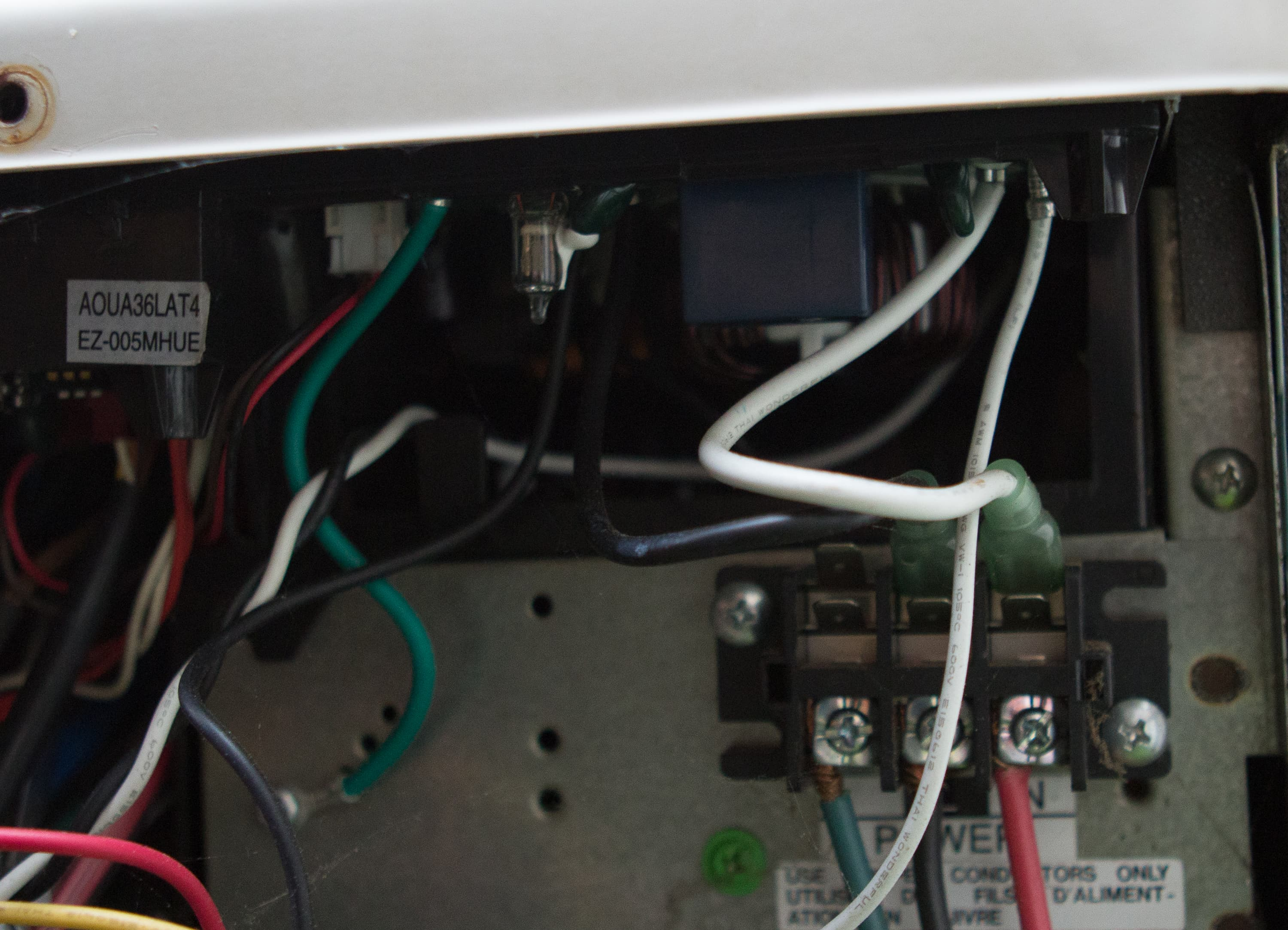 while it might be difficult to see through the other wiring in the unit,  here we have included a picture of the main power connections to a friedrich  mini