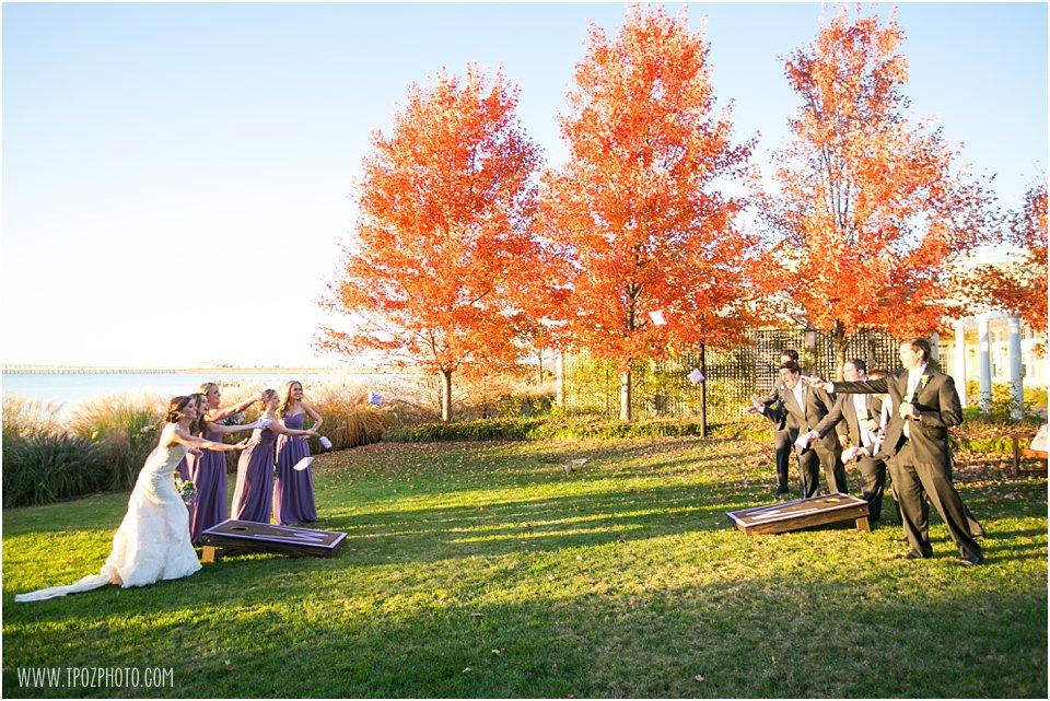 Cornhole game at wedding