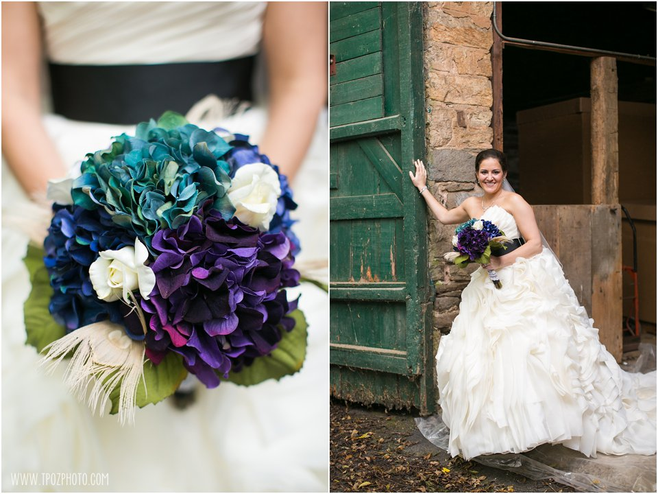 Peacock themed wedding bouquet
