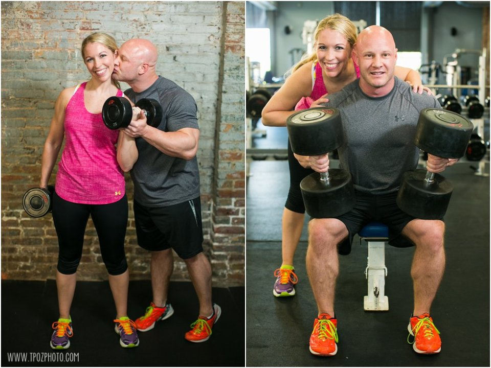Fitness Engagement Photos Working Out at the Gym