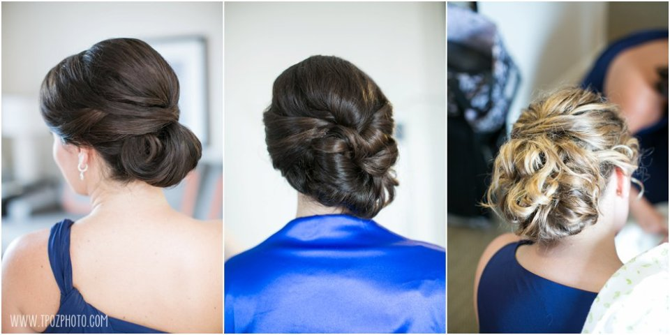 Bridesmaids Updo Hairstyles - Loews Annapolis Wedding Prep • tPoz Photography • www.tpozphoto.com