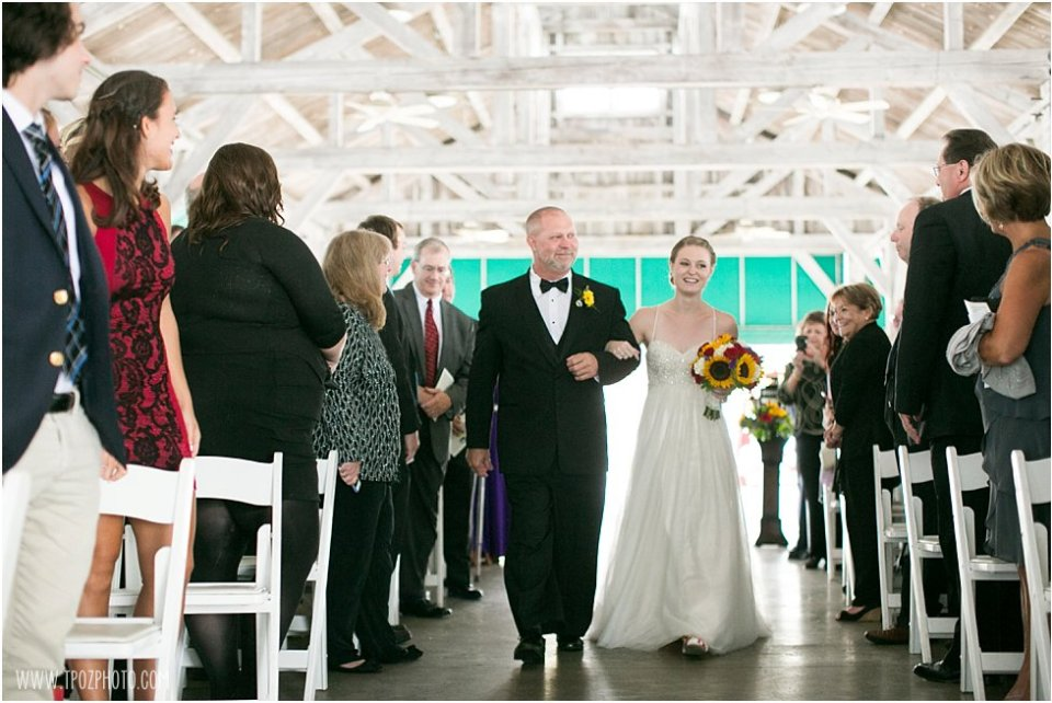 Wedding ceremony in the Pavilion at the Baltimore Museum of Industry