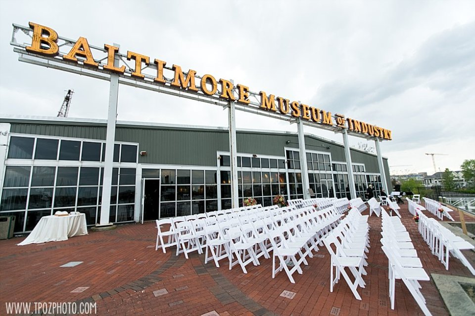 The Brick Patio Ceremony Setup at the Baltimore Museum of Industry