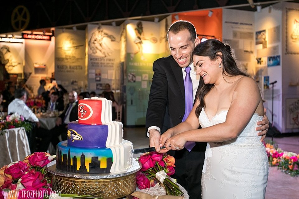 Baltimore Ravens wedding cake || tPoz Photography || www.tpozphoto.com