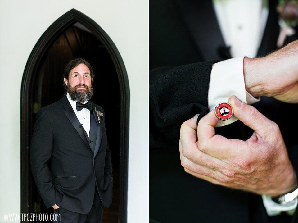 Natty Boh cufflinks at a Chase Court Wedding || tPoz Photography || www.tpozphoto.com