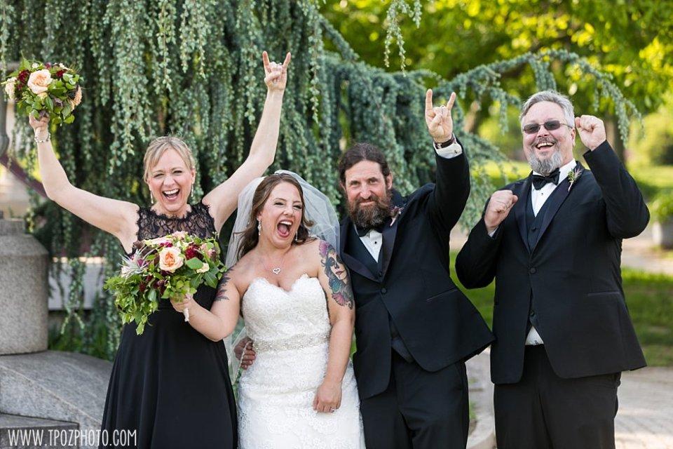 Fun Wedding Party Patterson Park Pagoda Wedding Portraits || tPoz Photography || www.tpozphoto.com