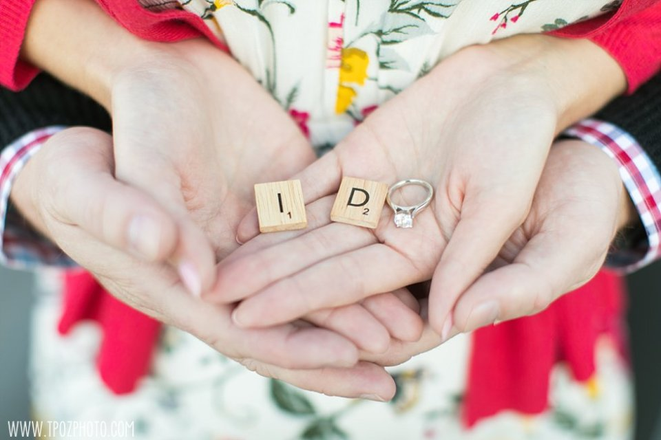 I DO Scrabble letters engagement session || tPoz Photography || www.tpozphoto.com