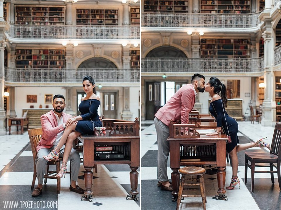 Peabody Library Engagement Proposal || tPoz Photography || www.tpozphoto.com