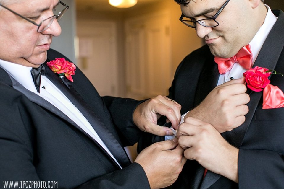 Groom with coral bowtie  •  tPoz Photography  •  www.tpozphoto.com