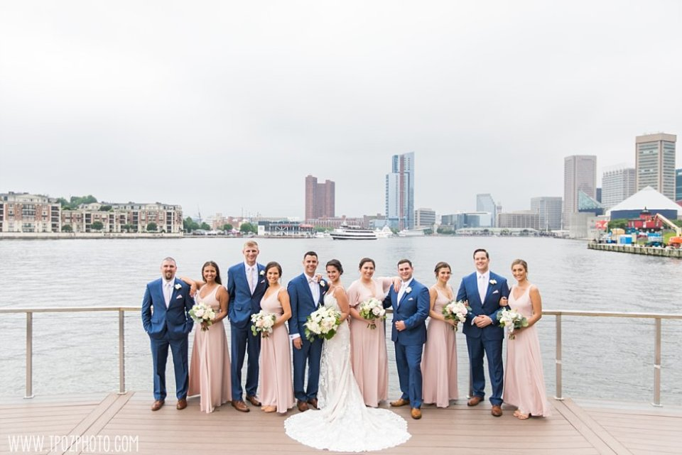 Wedding Party portraits by the Four Seasons Baltimore  • tPoz Photography  •  www.tpozphoto.com
