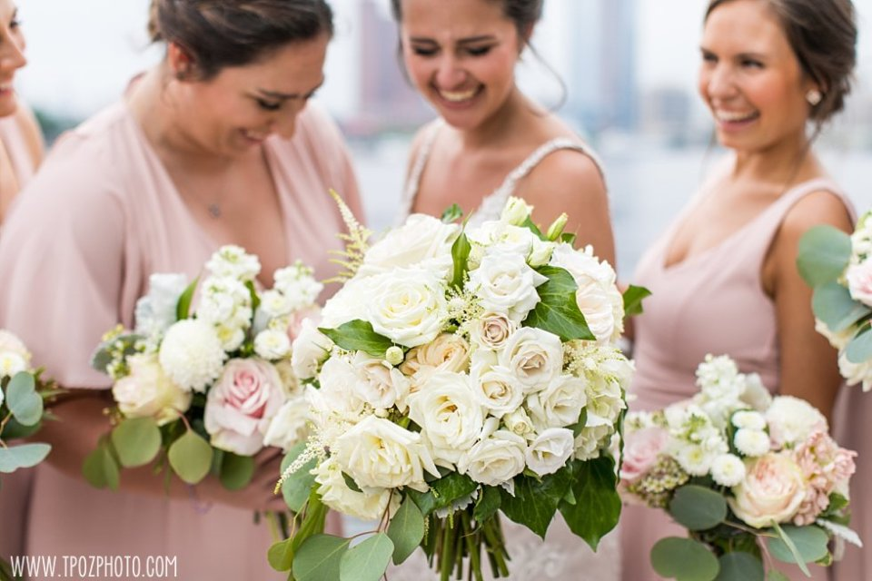 Bridesmaids in blush dresses, white bouquet from Blush Floral Design • tPoz Photography  •  www.tpozphoto.com