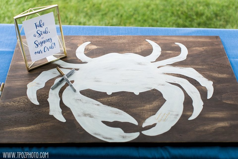 Wooden crab wedding guestbook • tPoz Photography  •  www.tpozphoto.com