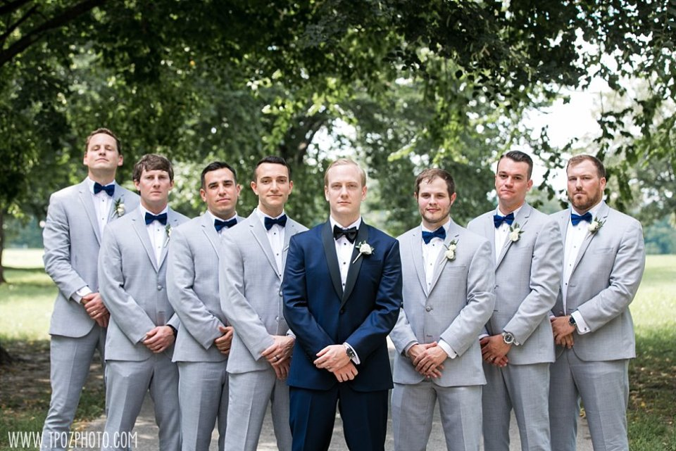 Baltimore Patterson Park Wedding groomsmen in grey tuxes •  tPoz Photography • www.tpozphoto.com