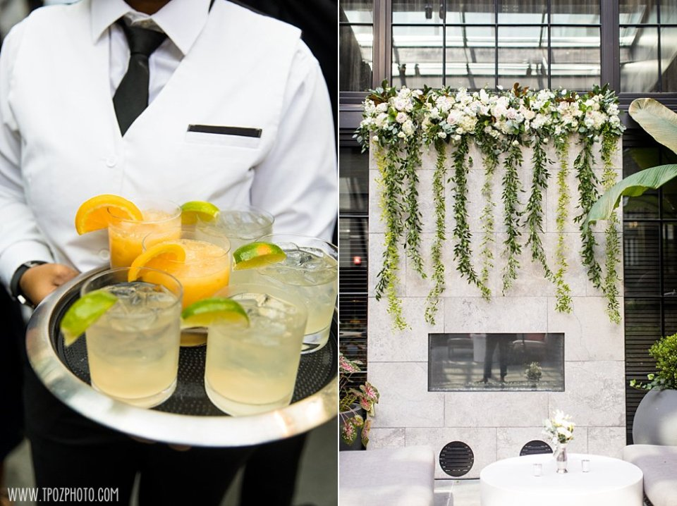 Sagamore Pendry Wedding Cocktail Hour in the Courtyard •tPoz Photography • www.tpozphoto.com