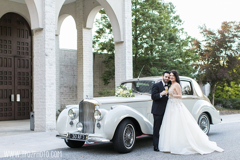 White Bentley from Lasting Impressions at a Baltimore Wedding at St. Demetrios Greek Orthodox Church •tPoz Photography  •www.tpozphoto.com