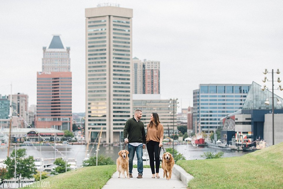 Baltimore city skyline and a couple walking dogs • tPoz Photography  • www.tpozphoto.com