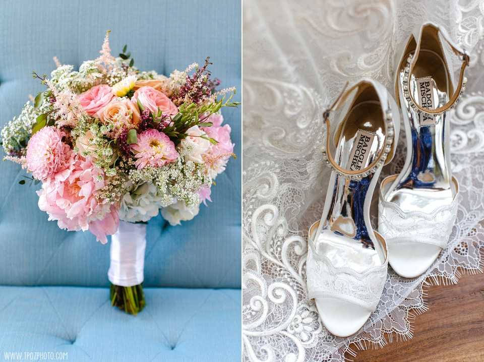 Pink wedding bouquet and white heels