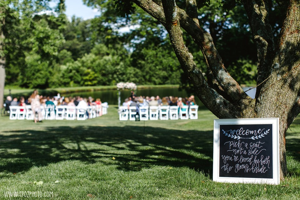 Wedding Ceremony by the pond at Rosewood Farms - Maryland Wedding Photos