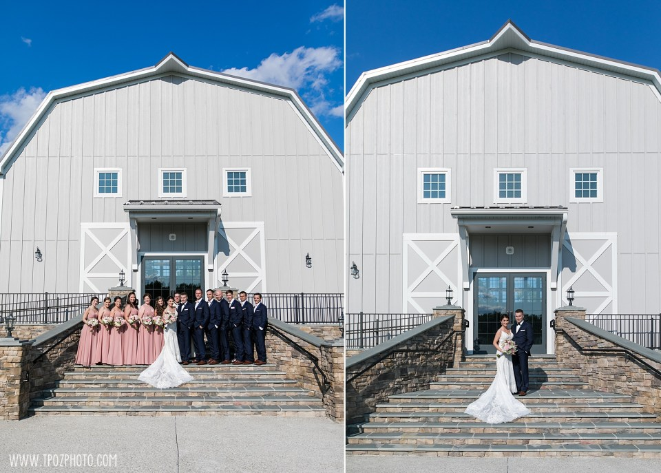 Wedding Party portrait on the steps of the Rustic Barn at a Rosewood Farms Wedding in Maryland