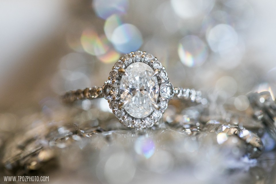 engagement ring with bokeh