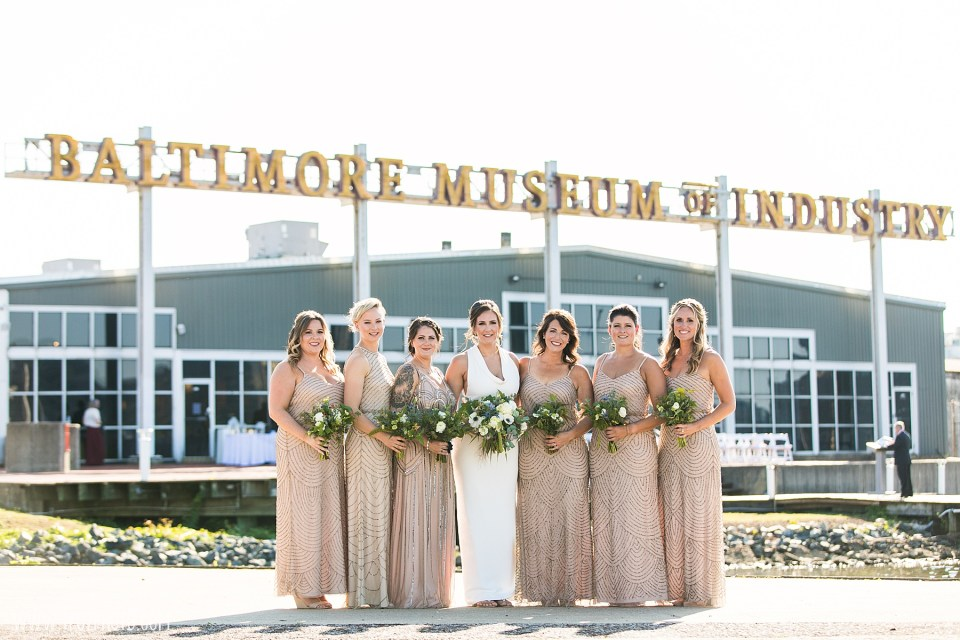 bridesmaids at Baltimore Museum of Industry