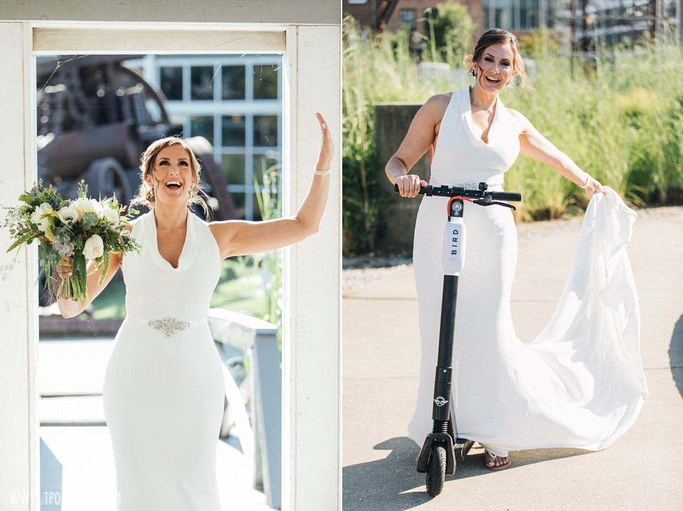 bride on a scooter at Baltimore Museum of Industry