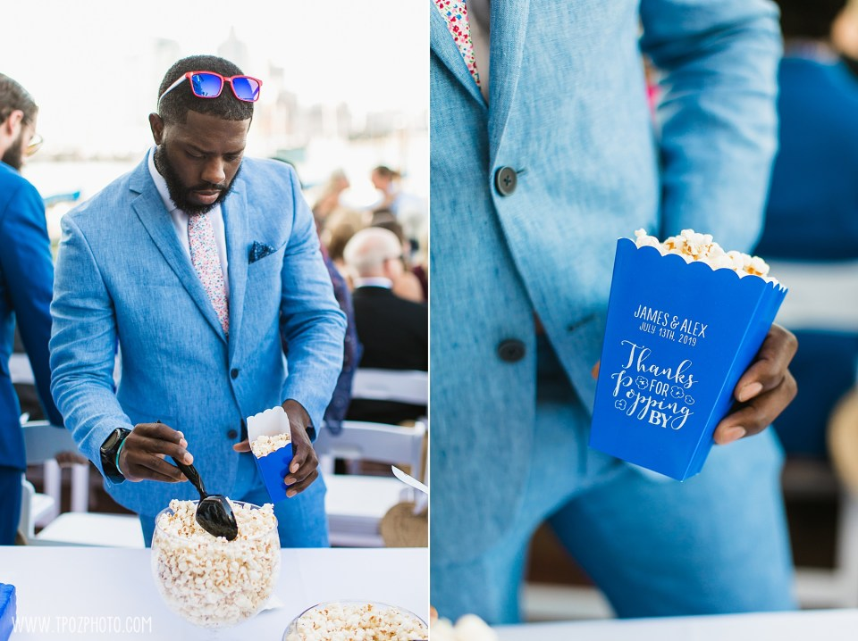 popcorn before the wedding ceremony