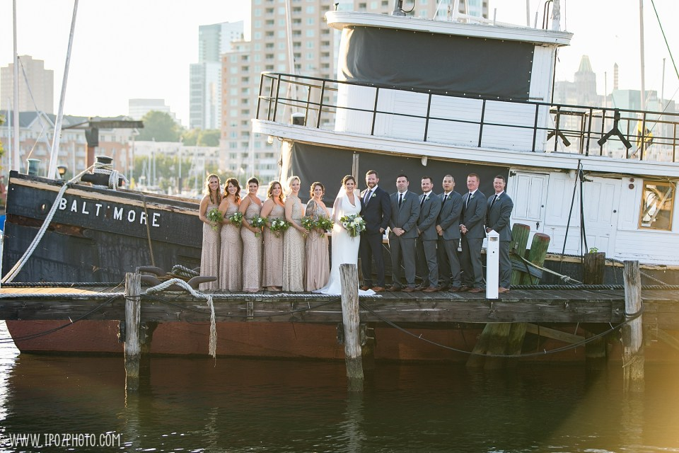 wedding party in front of the tugboat at a Baltimore Museum of Industry wedding