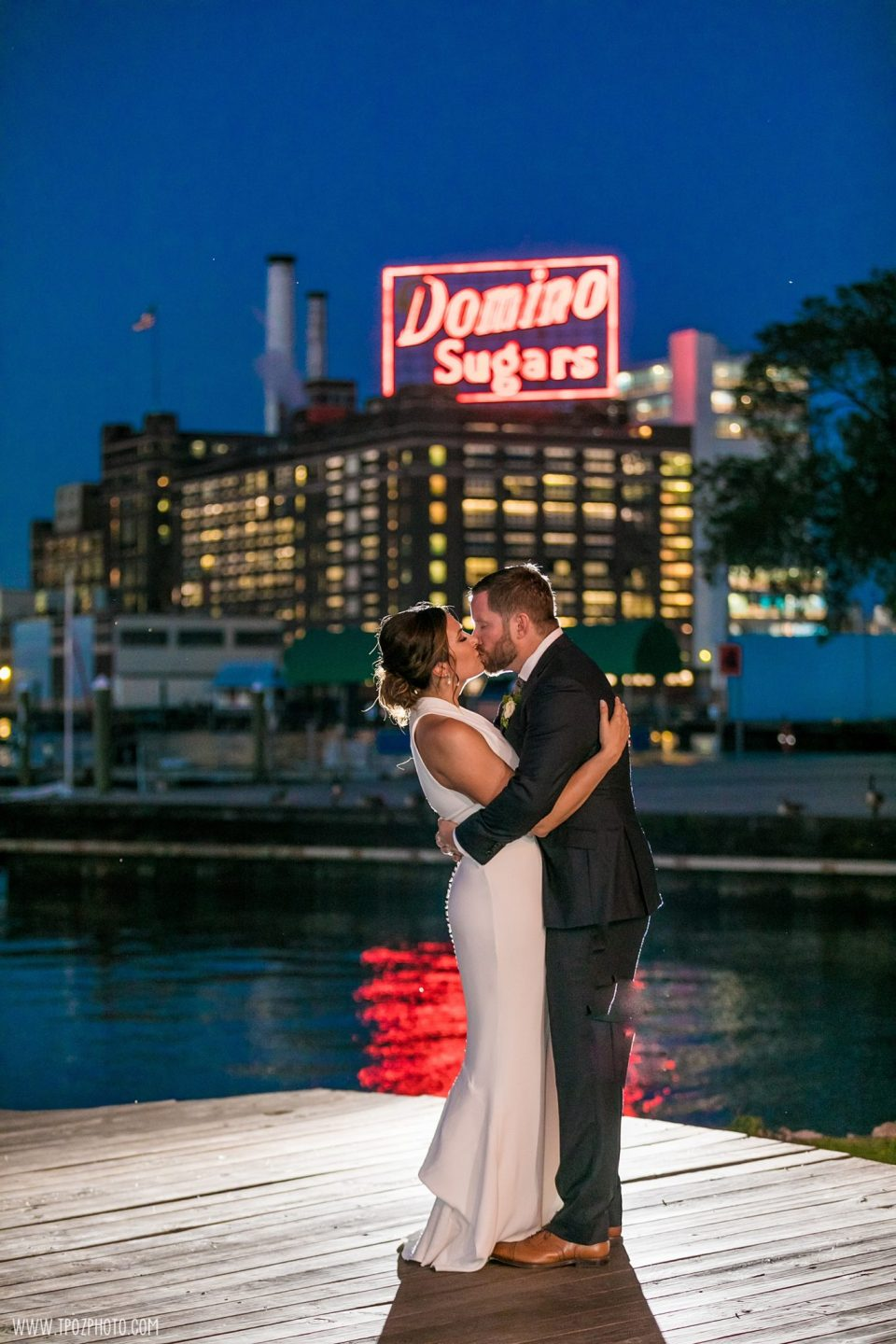 Baltimore Museum of Industry wedding photos night shot domino sign