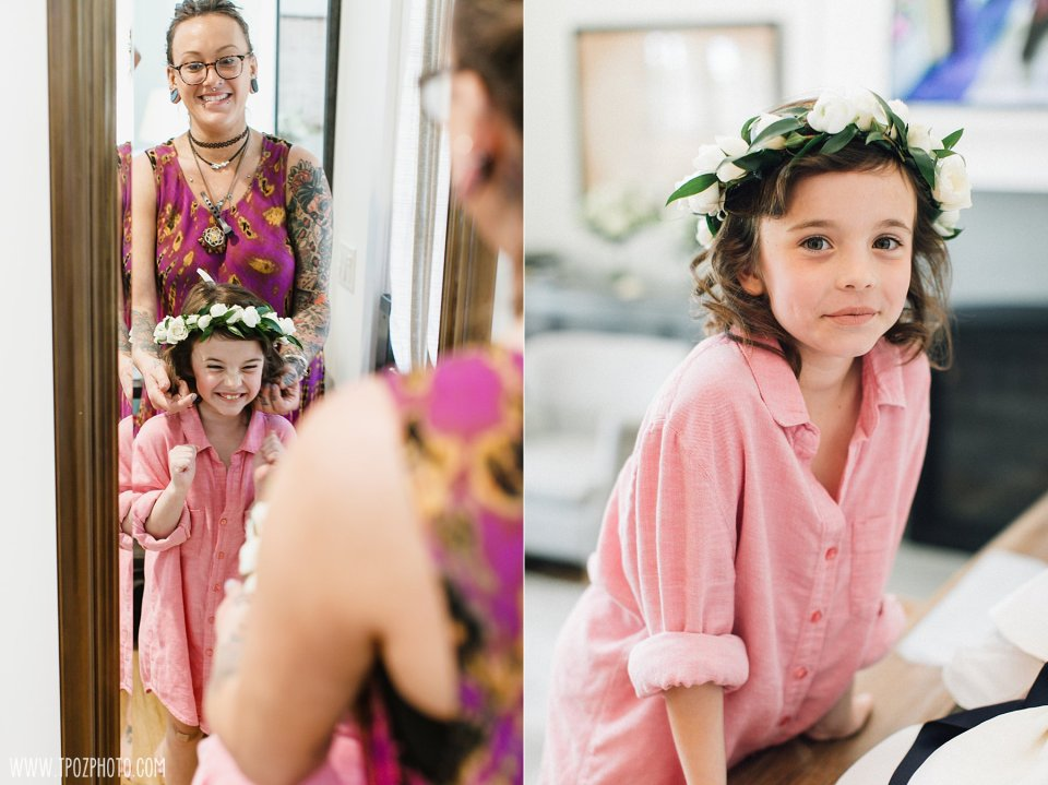 Flower girl getting ready at the Inn at Chesapeake Bay