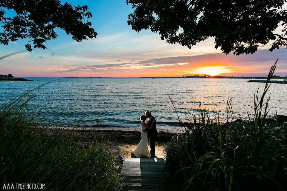 Sunset wedding photos at the Chesapeake Bay Beach Club