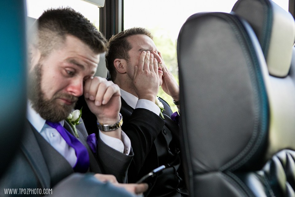 Groom and brother crying